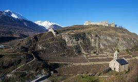 Schloss Turbillon und Kapelle stockbild