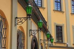 Schloss und Laternen Stockfoto