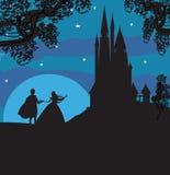 Schloss und Prinzessin mit Prinzen Stockfoto