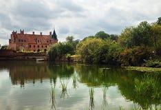 Schloss und Teich Stockfotos