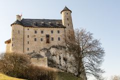 Schloss vom 14. Jahrhundert in Bobolice Polen Lizenzfreie Stockfotografie