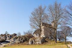 Schloss vom 14. Jahrhundert in Bobolice Polen Lizenzfreies Stockfoto