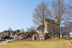 Schloss vom 14. Jahrhundert in Bobolice Polen Lizenzfreie Stockbilder