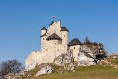 Schloss vom 14. Jahrhundert in Bobolice Polen Lizenzfreie Stockfotos