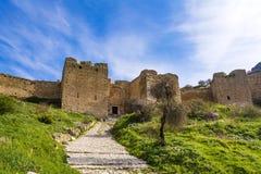 Schloss von Acrocorinth, oberes Korinth, die Akropolis von altem Korinth Lizenzfreie Stockfotos