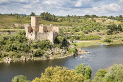 Schloss von Almourol mitten in dem Tajo, Vila Nova da Barquinha, Bezirk von Santarem, Portugal Lizenzfreies Stockfoto