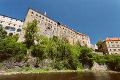 Schloss von CESKY KRUMLOV, BÖHMEN, TSCHECHISCHES REPUBLIK lizenzfreies stockbild