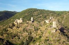 Schloss von Lastours 12 Stockbild