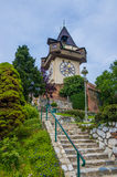 Schlossberg Castle Clock Tower in Graz Austria. The Schloßberg or Schlossberg (English: Castle Hill) is a tree-clad hill, and the site of a fortress Royalty Free Stock Photo