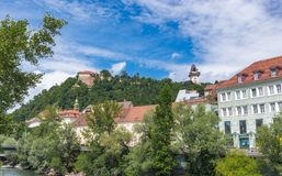 Schlossberg Hill in Graz on Blue Sky Background Royalty Free Stock Photo