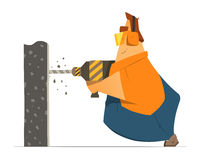 Schlosser-Arbeitskrafterbauer des dicken Mannes, der eine Wand bohrt Stockfotos