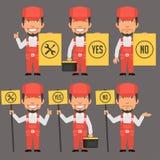 Schlosser Holds Different Signs Lizenzfreie Stockbilder