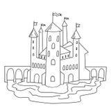 Schlossfarbtonseite Vektorhand gezeichnete Abbildung stockfoto