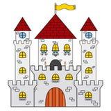 Schlossikone Gemacht in der flachen Art der Karikatur Mittelalterliches Konzept Lizenzfreie Stockbilder