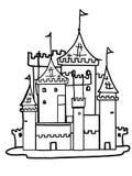 Schlossillustrationszeichnungskönigkarikatur-Zeichnungsfarbton lizenzfreie abbildung