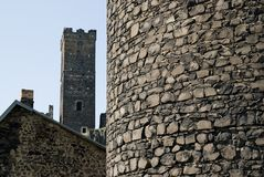 Schlosskontrolltürme Stockfoto