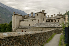 Schlossnordwestansicht, Issogne, Italien lizenzfreies stockbild