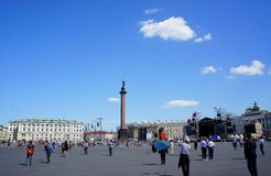 Schlossplatz. Aliksandriysky pillar on Palace Square in St. Petersburg Stock Photos