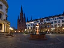 Schlossplatz alla notte a Wiesbaden Immagine Stock