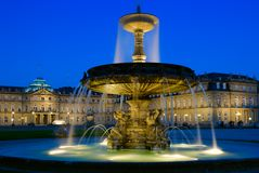 Schlossplatz fontanna w Stuttgart, Niemcy Zdjęcia Royalty Free