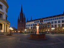 Schlossplatz at Night in Wiesbaden Stock Image