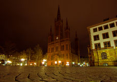Schlossplatz at Night in Wiesbaden Royalty Free Stock Images