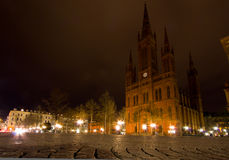 Schlossplatz at Night in Wiesbaden Royalty Free Stock Photography