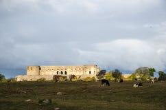 Schlossruine im Scheinwerfer Stockfoto
