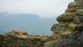 Schlossruine mit Panorama Stockfoto