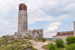 Schlossruinen in Olsztyn Stockbild