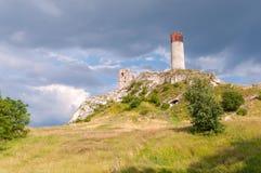 Schlossruinen in Olsztyn Stockbilder