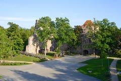 Schlossruinen in Sigulda Stockfoto