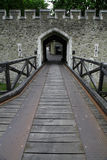 Schlosstor und Felsenwand Stockfoto