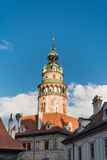 Schlossturm Cesky Krumlov Stockfotografie