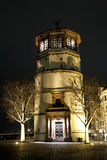 Schlossturm Tower on Burgplatz. Square at night, Dusseldorf, Germany Royalty Free Stock Photo