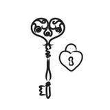 Schlüssel mit Herzformverschluß; Linie Kunstillustration Schwarzweiss Stockbild