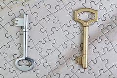 Schlüssel zum Puzzlespielnahaufnahmegold. Lizenzfreie Stockbilder