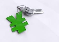Schlüsselfinanzerfolg, Öffnungstüren zu Ihrer Zukunft und die Fähigkeit, Geld Yen zu erwerben Stockfotos