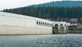 Schluchsee the dam wall. The Schluchsee is a reservoir lake in the district of Breisgau-Hochschwarzwald, southeast of the Titisee in the Black Forest near Royalty Free Stock Images