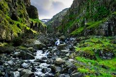 Schlucht auf den Ostfjorden von Island stockbilder