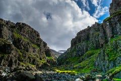 Schlucht auf den Ostfjorden von Island Lizenzfreies Stockbild