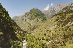 Schlucht in den Nord-Ossetien Tiefer Abstieg in der Spalte des Flusses Lizenzfreies Stockfoto