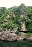 Schlucht und Hängebrücke in Aizu, Fukushima Lizenzfreie Stockfotos