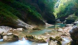 Schlucht unscharfer Fluss in der Sommerzeit Stockfotografie