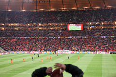 Schluss am Fußball-Stadt-Stadion Lizenzfreie Stockbilder