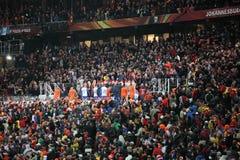 Schluss am Fußball-Stadt-Stadion Stockfotografie