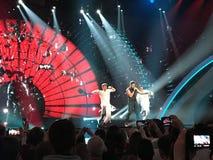 Schluss von Eurovision 2017 auf dem Stadium des internationalen Exhib Lizenzfreies Stockbild
