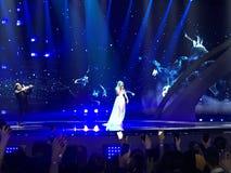 Schluss von Eurovision 2017 auf dem Stadium des internationalen Exhib Lizenzfreie Stockfotos