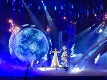 Schluss von Eurovision 2017 auf dem Stadium des internationalen Exhib Stockbild