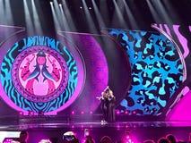 Schluss von Eurovision 2017 auf dem Stadium des internationalen Exhib Lizenzfreies Stockfoto